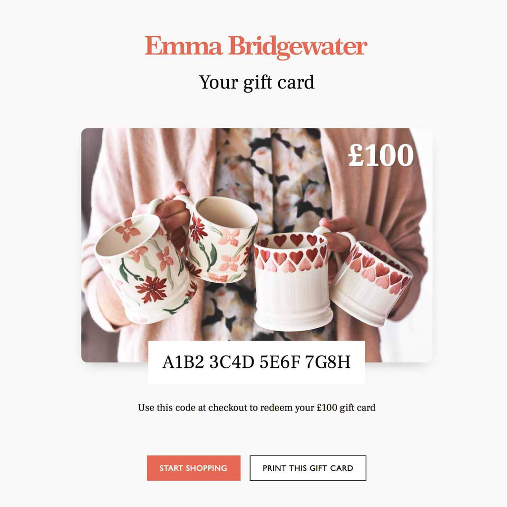 Emma Bridgewater printable Gift Voucher - ideal last minute gift idea, you choose the amount.
