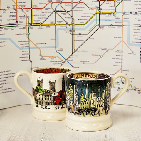 London at Night Set of 2 1/2 Pint Mugs Boxed