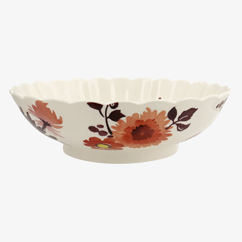 Bright Dahlias Large Fluted Bowl