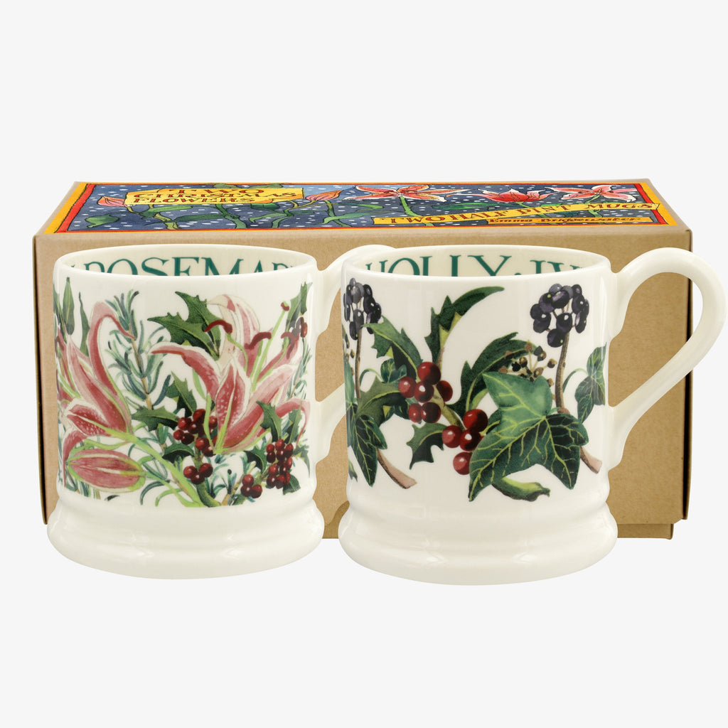 Winter Flowers Set of 2 1/2 Pint Mugs Boxed