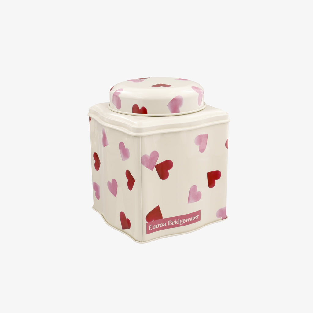 Pink Hearts Dome Lid Curved Tin Caddy