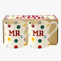 Polka Dot Mr & Mr Set of 2 1/2 Pint Mugs Boxed