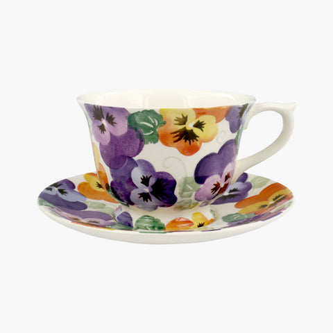 Purple Pansy Larger Teacup & Saucer Boxed