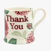 Pink Roses Thank You 1/2 Pint Mug
