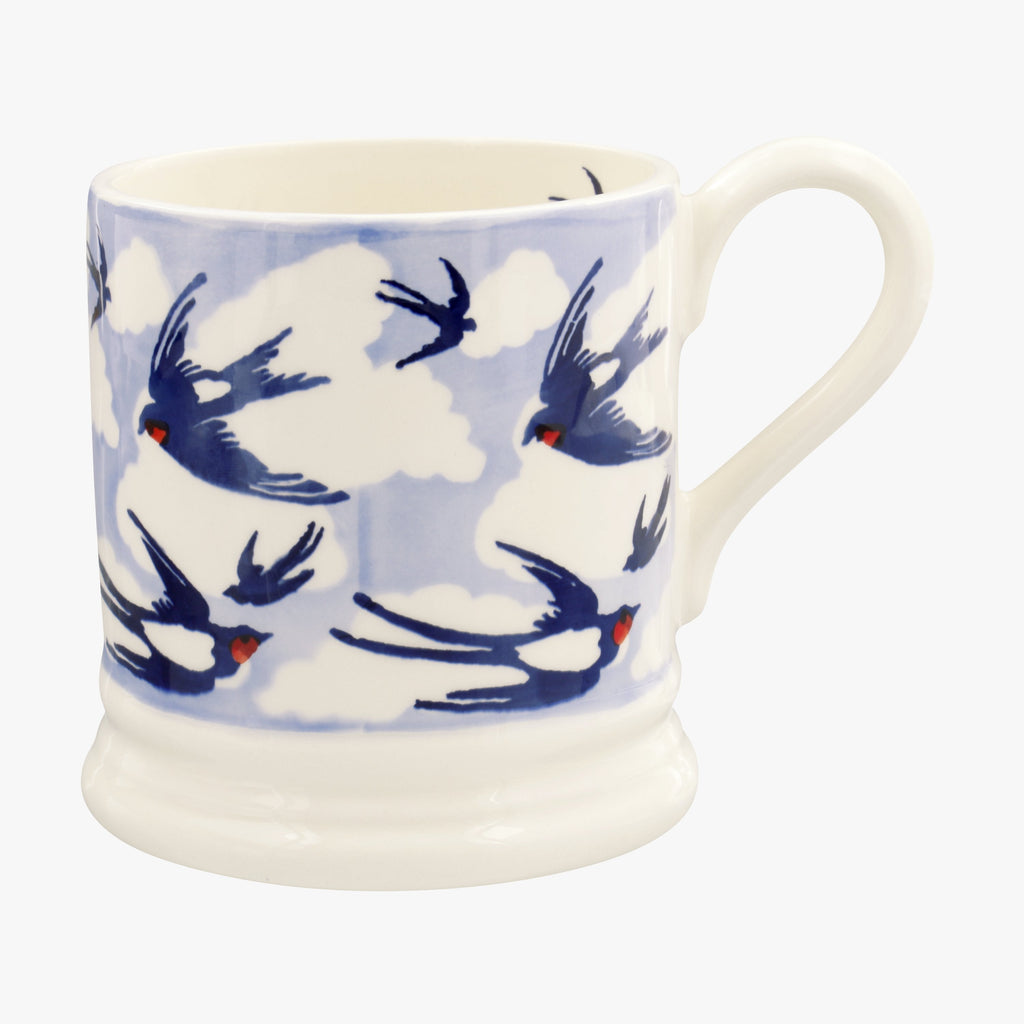Blue Swallows In The Clouds 1/2 Pint Mug