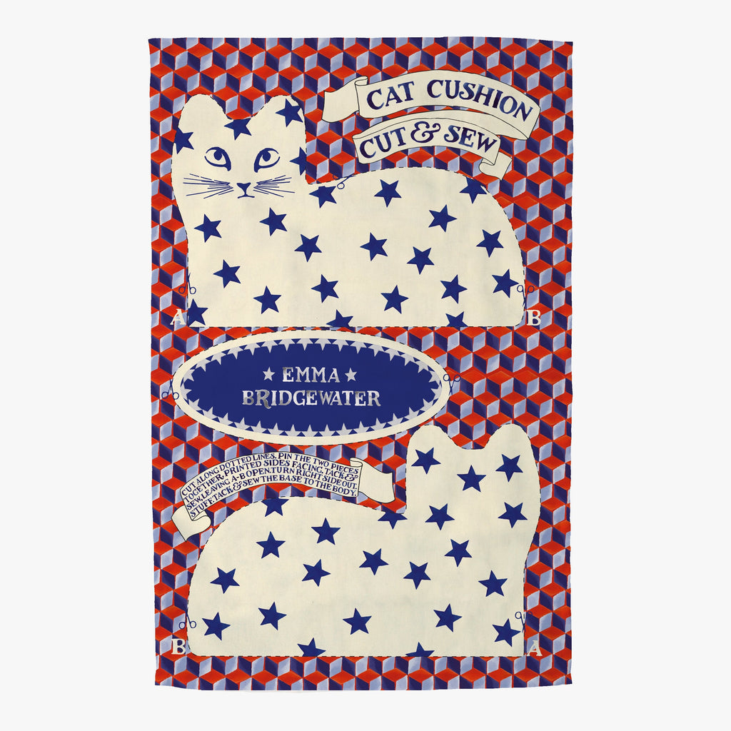 Emma Bridgewater The Pussy Cat Cut and Sew Tea Towel - blue and red coloured tea towel with a star printed cat for keeping in your kitchen or cutting up to make your own cat plush as a great little sewing project.