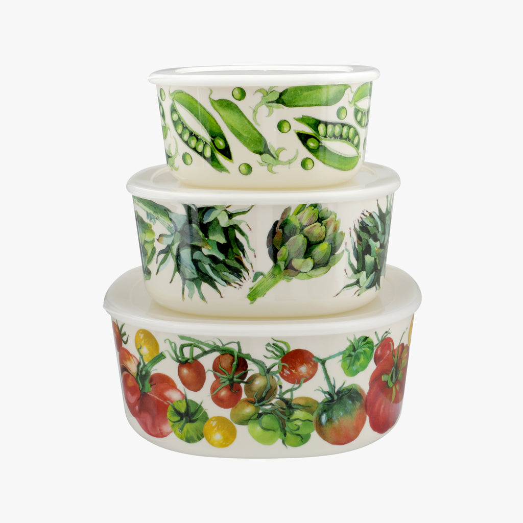Vegetable Garden Set of 3 Melamine Storage Tubs