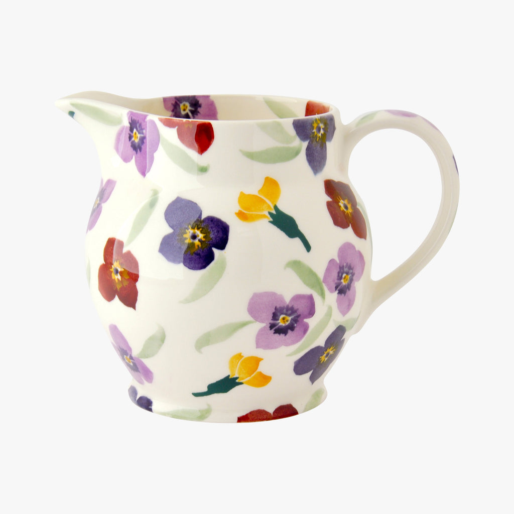Emma Bridgewater Purple Wallflower One and a Half Pint Jug - white coloured English earthenware jug with vibrant floral prints. Ideal gift to accompany a bouquet of flowers.