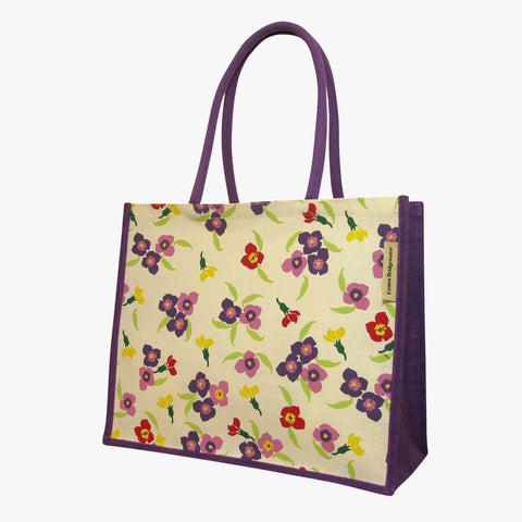 Wallflower Purple Jute Bag