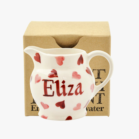 Personalised Pink Hearts Tiny Jug Decoration