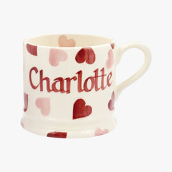 Personalised Pink Hearts Small Mug