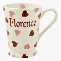 Personalised Pink Hearts Cocoa Mug