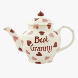 Personalised Pink Hearts 2 Mug Teapot