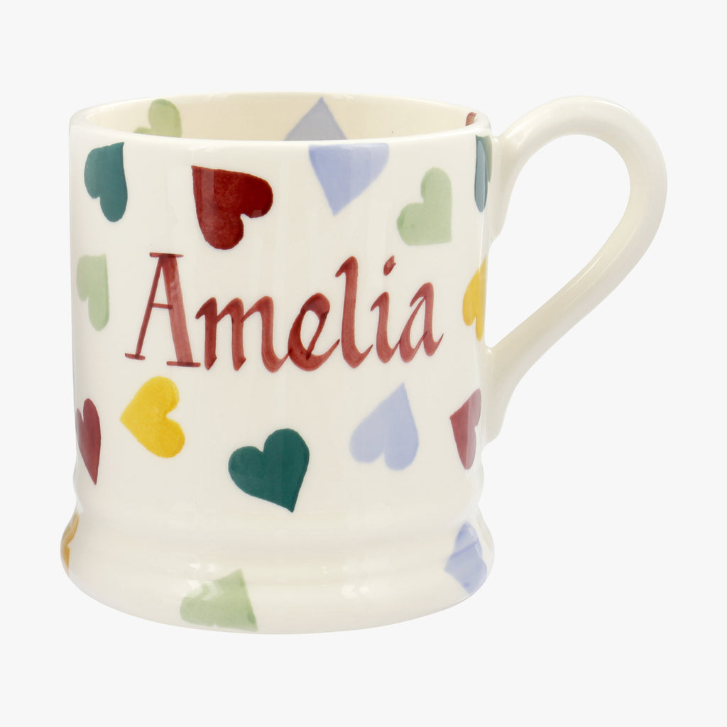 Personalised Polka Hearts 1/2 Pint Mug