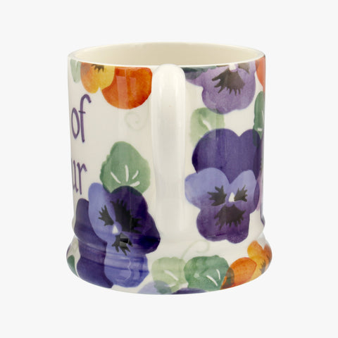 Personalised Purple Pansy 1/2 Pint Mug