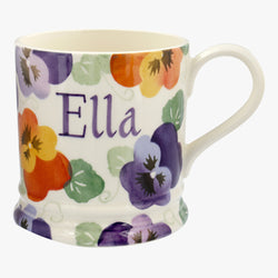 Personalised Purple Pansy 1 Pint Mug