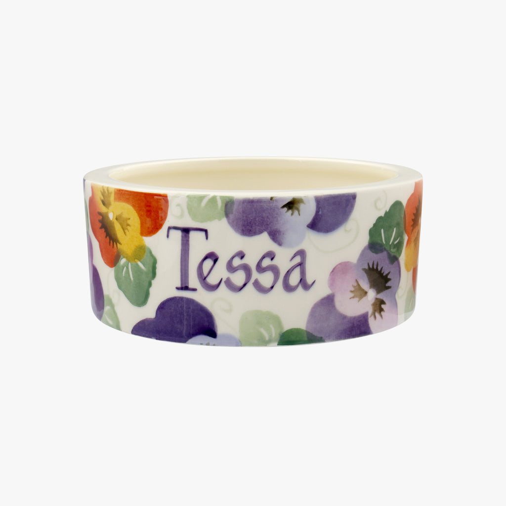 Personalised Purple Pansy Small Pet Bowl