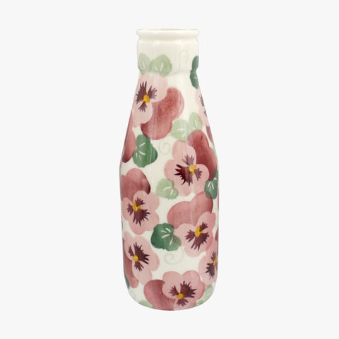 Personalised Pink Pansy Large Milk Bottle