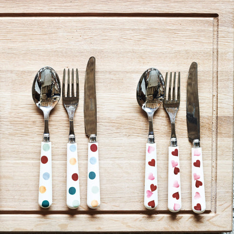 Pink Hearts Cutlery Set of 16
