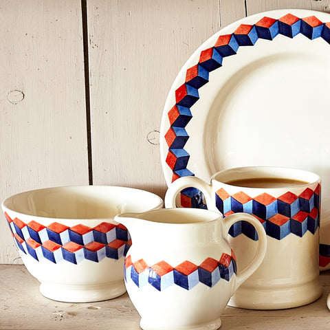 Red & Blue Tumbling Blocks 1/4 Pint Jug