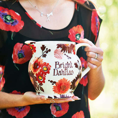 Personalised Bright Dahlias 3 Pint Jug