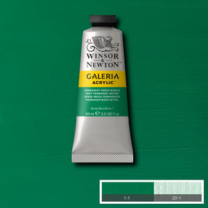Winsor & Newton Galeria Acrylic 60ml tubes-  PERMANENT GREEN MIDDLE