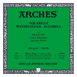 "Arches Watercolour Block COLD PRESSED (NOT)  140 lb/ 300 gsm WHITE  20 x 20 cm, 8 x 8"", 20 sheets"
