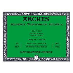"Arches Watercolour Block COLD PRESSED (NOT)  140 lb/ 300 gsm WHITE  23 x 31 cm, 9 x 12"", 20 sheets"