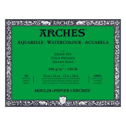 "Arches Watercolour Block COLD PRESSED (NOT)  140 lb/ 300 gsm WHITE  31 x 41 cm, 12 x 16"", 20 sheets"