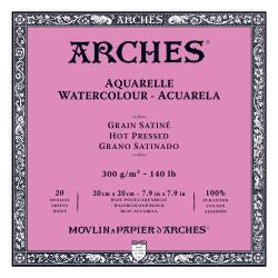 "Arches Watercolour Block HOT PRESSED (SMOOTH)  140 lb/ 300 gsm WHITE  20 x 20 cm, 8 x 8"", 20 sheets"