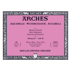 "Arches Watercolour Block HOT PRESSED (SMOOTH)  140 lb/ 300 gsm WHITE  23 x 31 cm, 9 x 12"", 20 sheets"