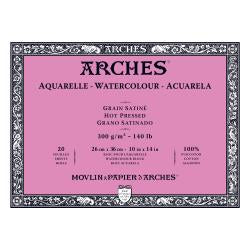 Arches Watercolour Block HOT PRESSED (SMOOTH)  140 lb/ 300 gsm WHITE  26 x 36 cm, 10 x 14