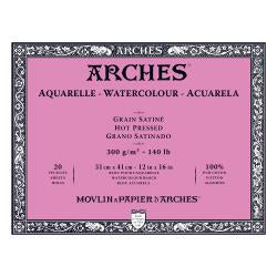 Arches Watercolour Block HOT PRESSED (SMOOTH)  140 lb/ 300 gsm WHITE  31 x 41 cm, 12 x 16