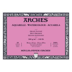 "Arches Watercolour Block HOT PRESSED (SMOOTH)  140 lb/ 300 gsm WHITE  36 x 51 cm, 14 x 20"", 20 sheets"