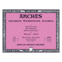 "Arches Watercolour Block HOT PRESSED (SMOOTH)  140 lb/ 300 gsm WHITE  46 x 61 cm, 18 x 24"", 20 sheets"