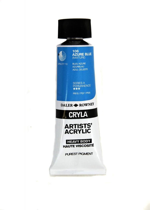 Daler Rowney Cryla Artists Acrylic 75ml Tubes-  AZURE BLUE