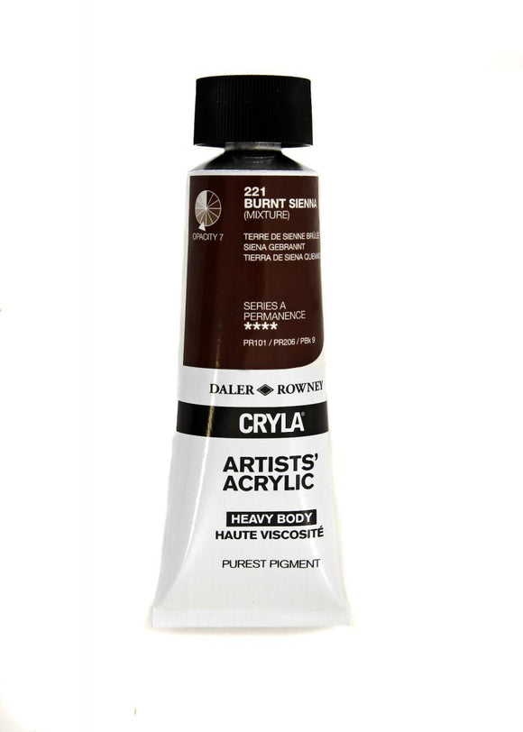 Daler Rowney Cryla Artists Acrylic 75ml Tubes-  BURNT SIENNA