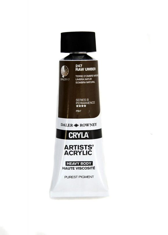 Daler Rowney Cryla Artists Acrylic 75ml Tubes-  RAW UMBER
