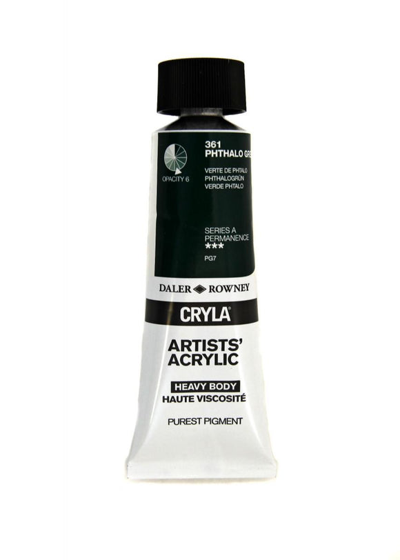 Daler Rowney Cryla Artists Acrylic 75ml Tubes-  PHTHALO GREEN