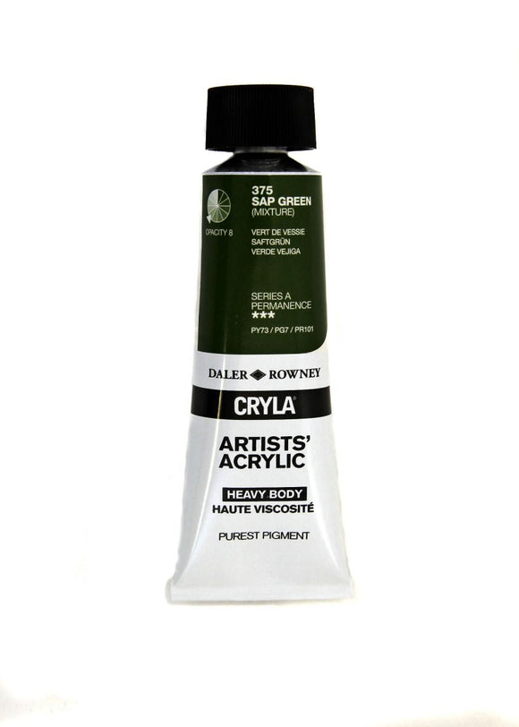 Daler Rowney Cryla Artists Acrylic 75ml Tubes-  SAP GREEN