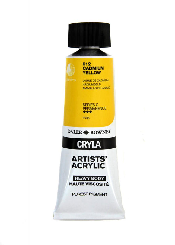 Daler Rowney Cryla Artists Acrylic 75ml Tubes-  CADMIUM YELLOW L82 T1