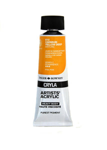 Daler Rowney Cryla Artists Acrylic 75ml Tubes-  CADMIUM YELLOW DEEP