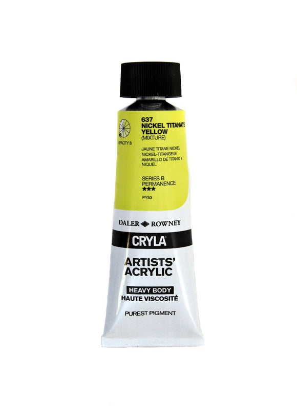 Daler Rowney Cryla Artists Acrylic 75ml Tubes-  NICKEL TITANATE YELLOW