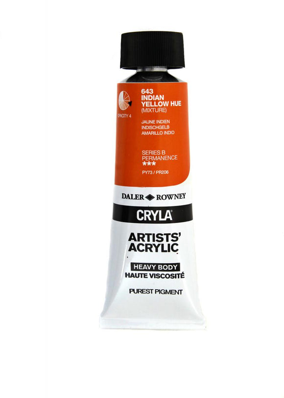 Daler Rowney Cryla Artists Acrylic 75ml Tubes-  INDIAN YELLOW HUE