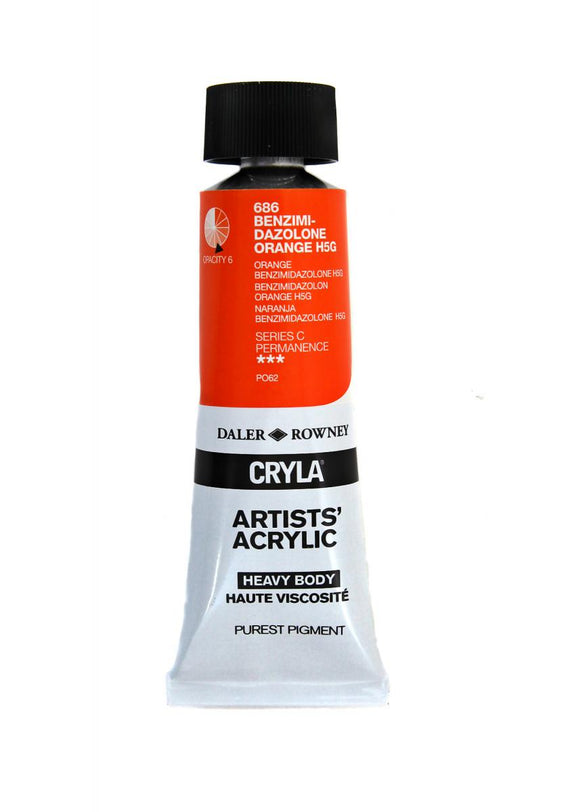Daler Rowney Cryla Artists Acrylic 75ml Tubes-  BISMUTH YELLOW