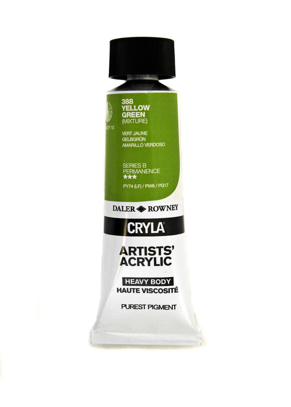 Daler Rowney Cryla Artists Acrylic 75ml Tubes-  YELLOW GREEN