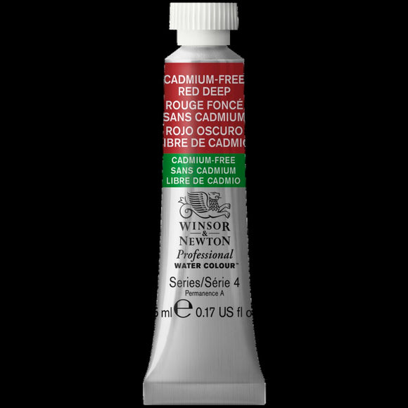 Winsor & Newton Professional (Artists) Water Colour 5ml Tube CADMIUM FREE Red Deep