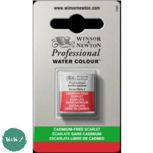 Winsor & Newton Professional (Artists) Water Colour HALF PAN -  CADMIUM-FREE SCARLET