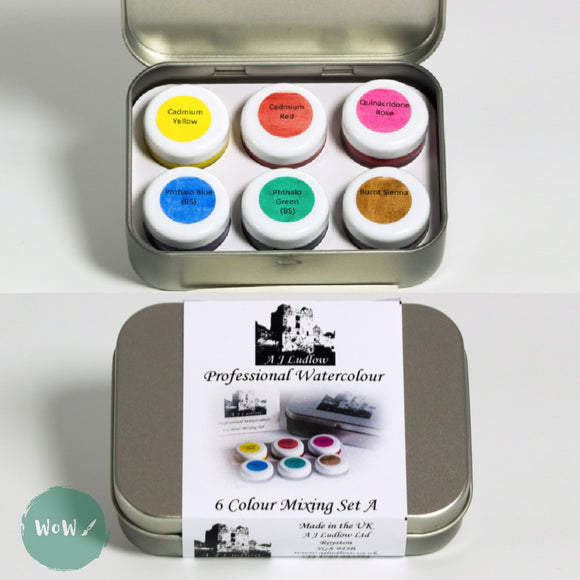 AJ Ludlow Professional Watercolour Gift Sets- 4ml Glass Jars TASTER TIN 'A'- Six Colour mixing