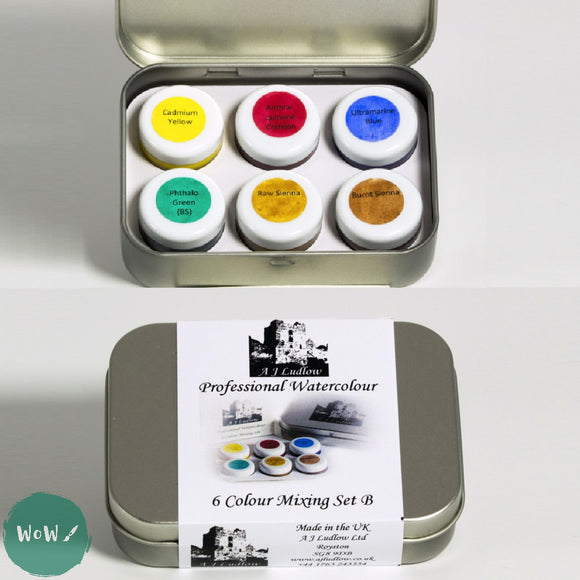 AJ Ludlow Professional Watercolour Gift Sets- 4ml Glass Jars TASTER TIN 'B'- Six Colour mixing